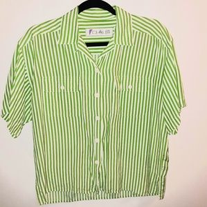 Vintage neon green and white striped blouse